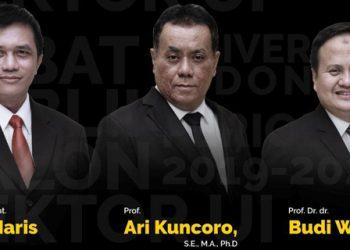 Tiga calon Rektor Universita Indonesia akan debat publik. Debat publik terbuka untuk umum.