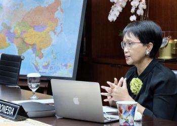 Menlu RI Retno Marsudi menghadiri Pertemuan Luar Biasa Komite Gerakan Non Blok mengenai Palestina, secara virtual, Selasa (22/06/2021)