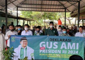 Kiai, santri dan tokoh masyarakat di Kabupaten Subang, Jawa Barat mendaulat Abdul Muhaimin Iskandar sebagai calon presiden (capres) 2024.